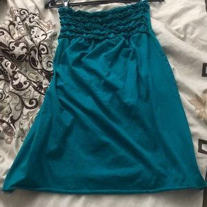 Blue Turquoise Mini Tube Strapless Dress SZ S